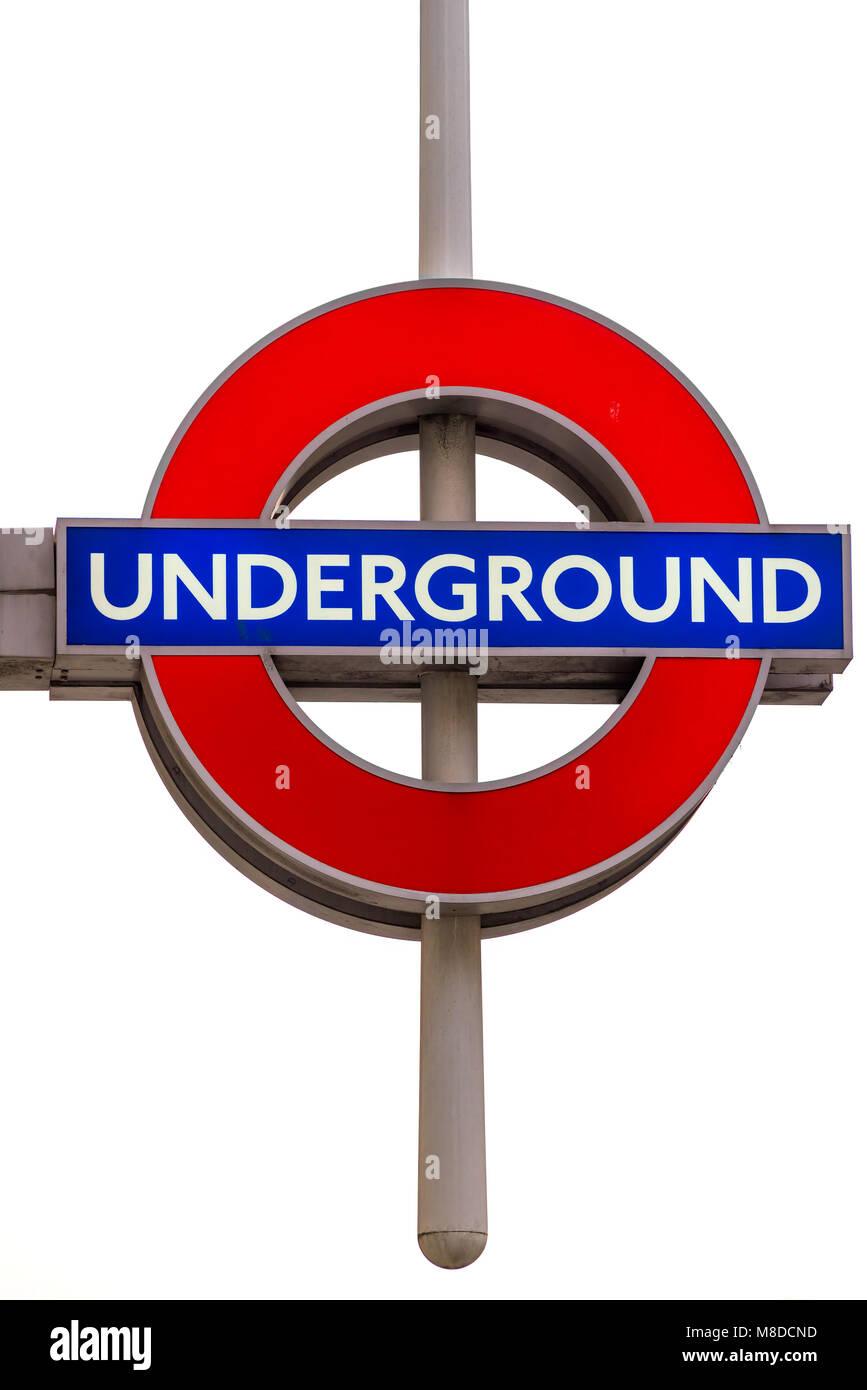 LONDON, UK - JANUARY 26, 2017: London Underground roundel shaped sign. The London Underground is the oldest underground Stock Photo