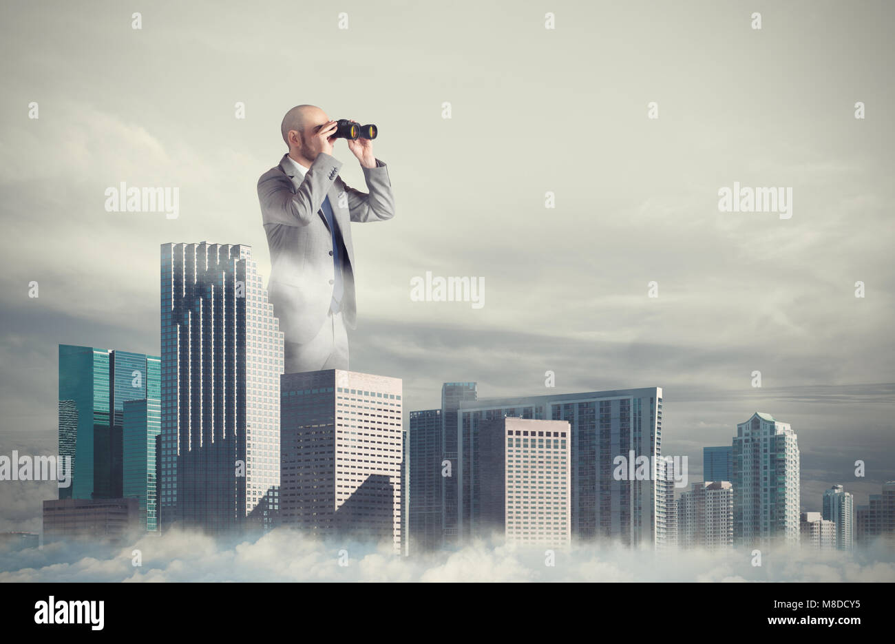 Businessman looks far for new business. Concept of new opportunities - Stock Image