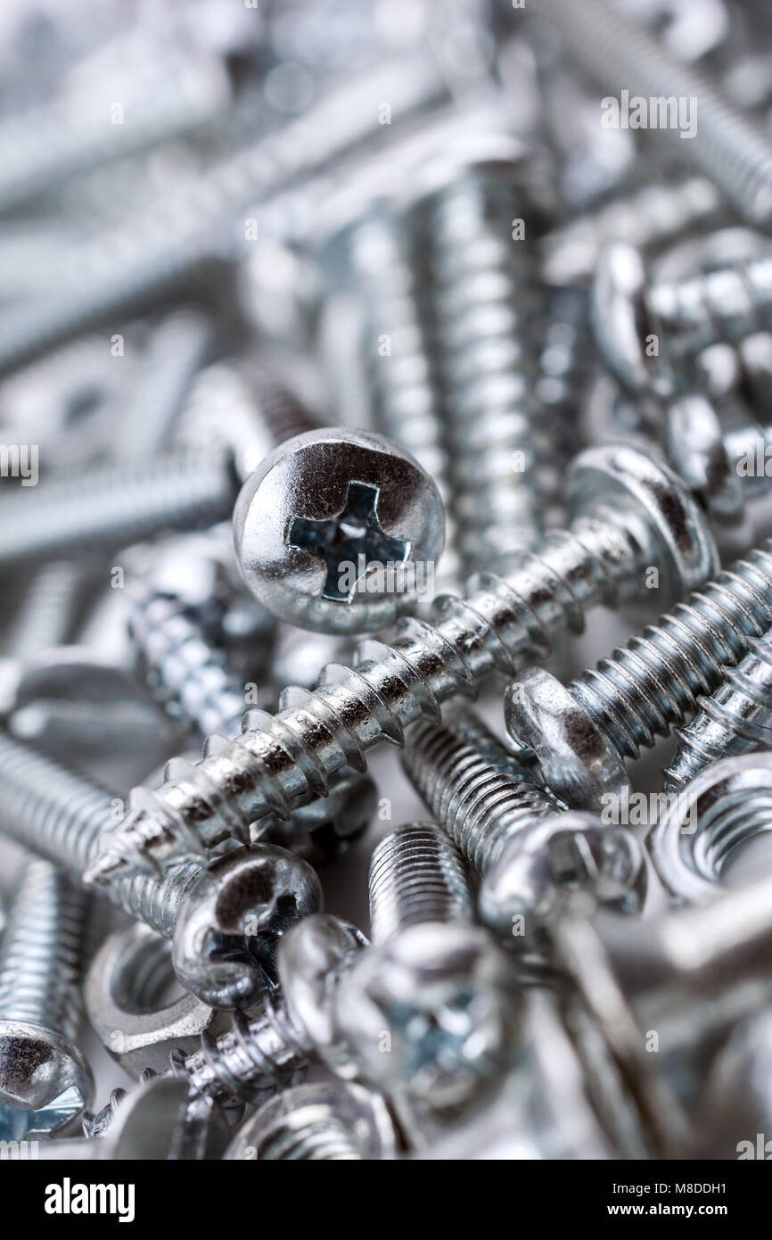A Big Collection Of Various Iron Screws and Bolt Nuts #2 - Stock Image