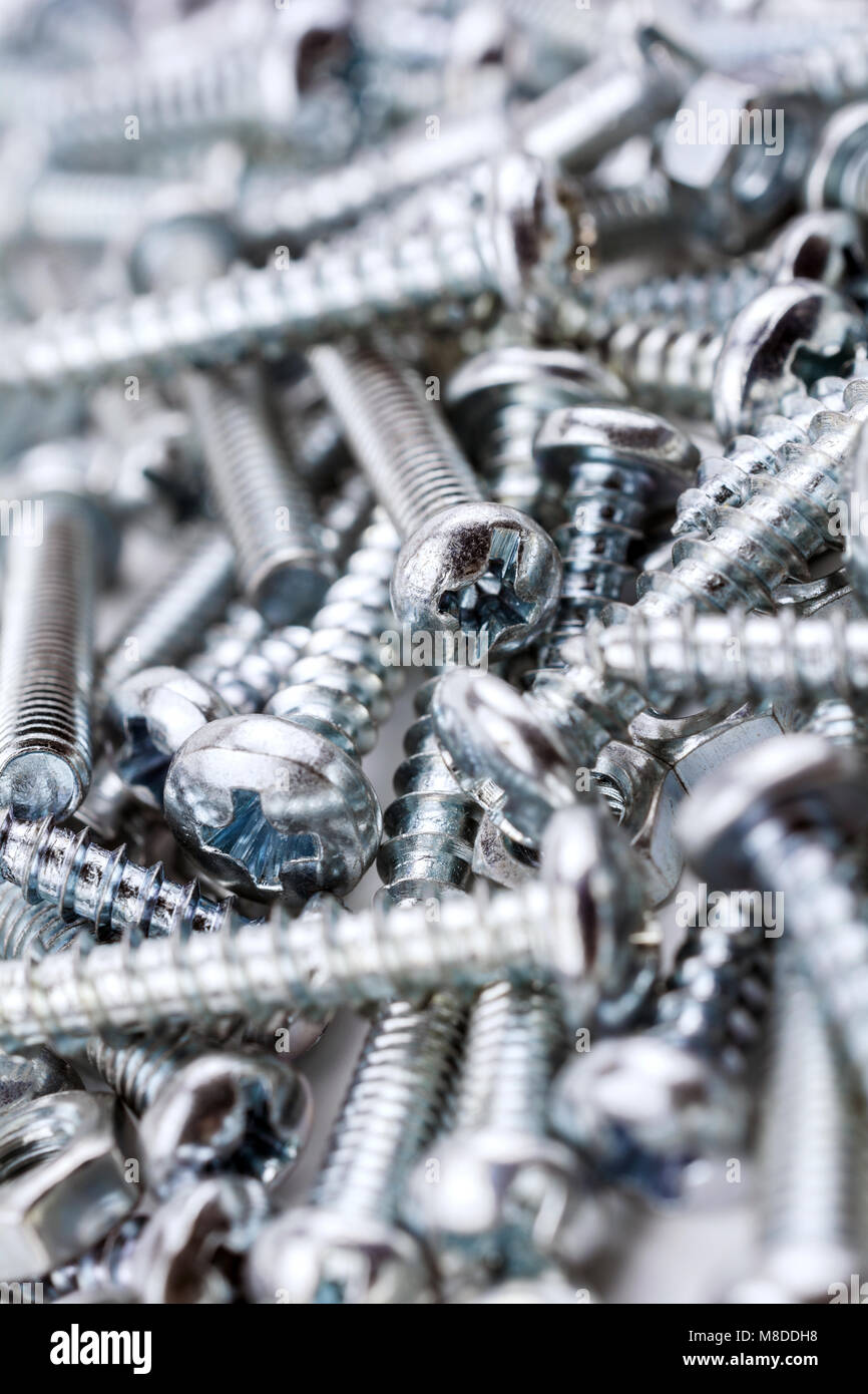 A Big Collection Of Various Iron Screws and Bolt Nuts #1 - Stock Image