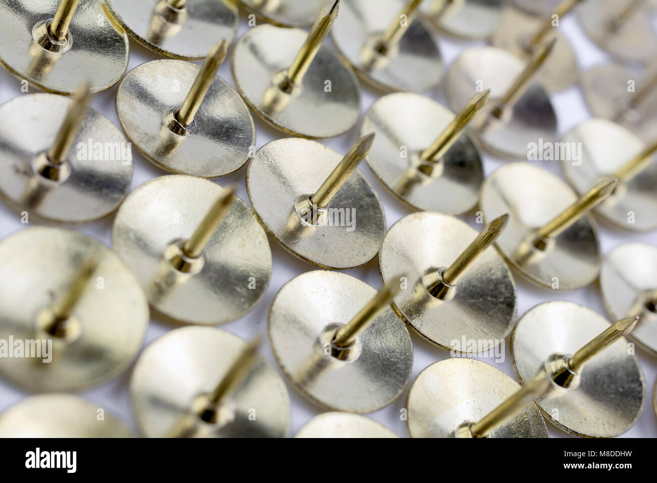 A Wall of Thumbtacks In A White Box - Crooked Angle  #2 - Stock Image