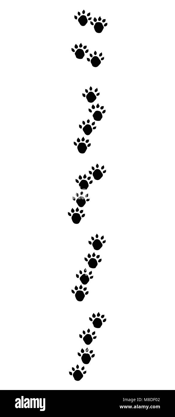 Otter footprints with typical oblique lined tracks - black icon illustration on white background. - Stock Image