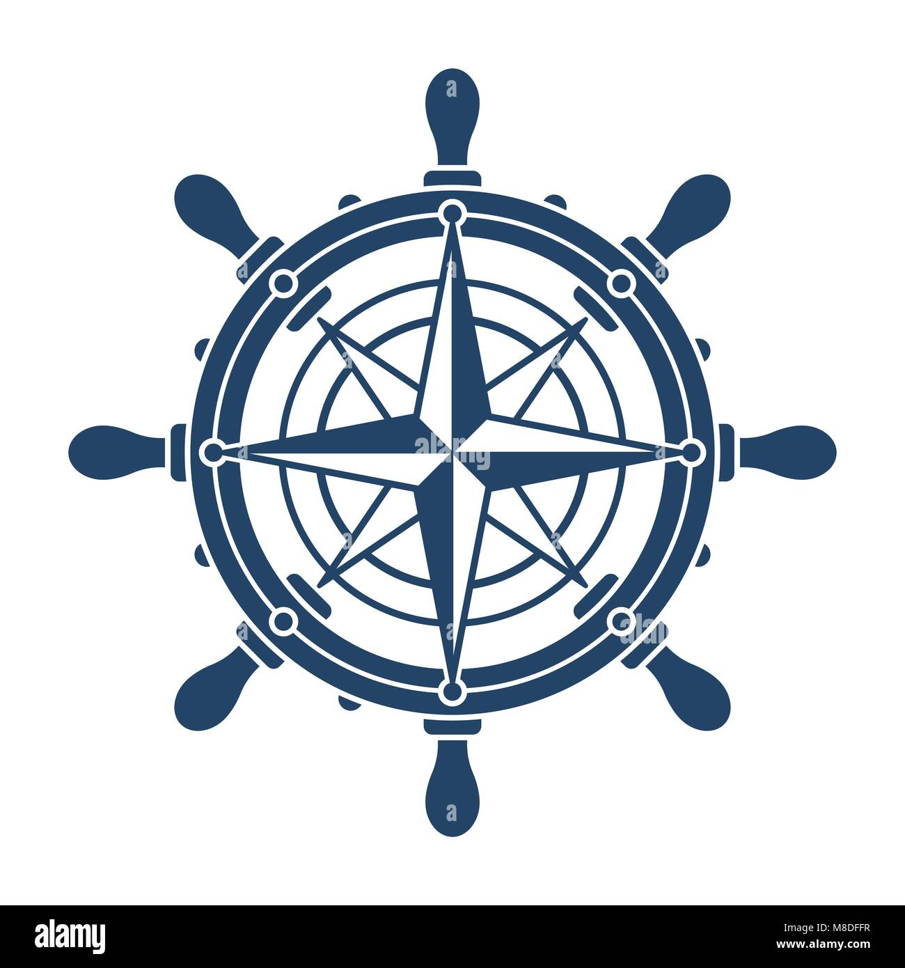 Ship Steering Wheel And Conpass Rose Navigation Symbol Or Logo Stock