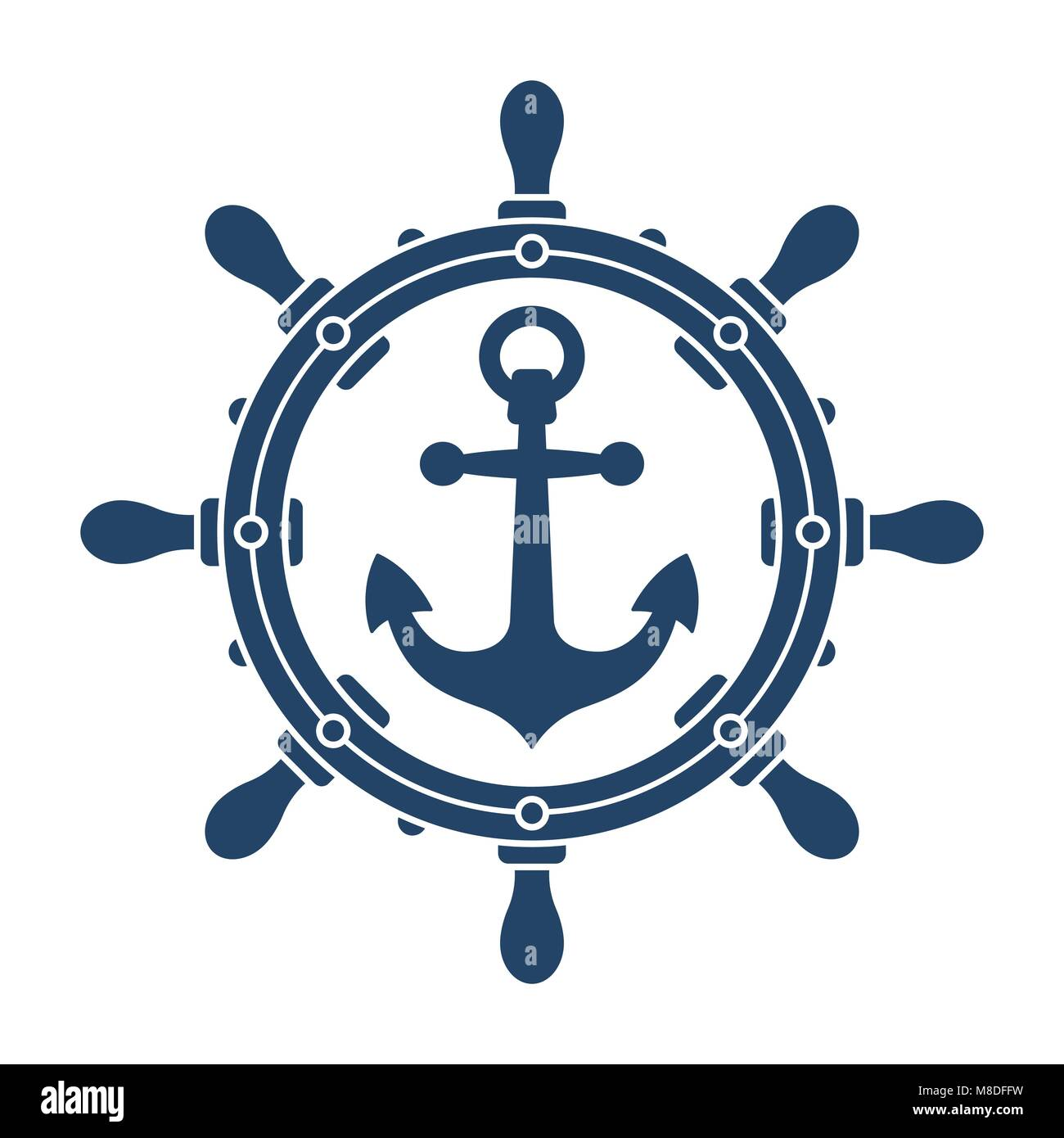 Ship Steering Wheel And Anchor Navigation Emblem Or Logo Isolated On