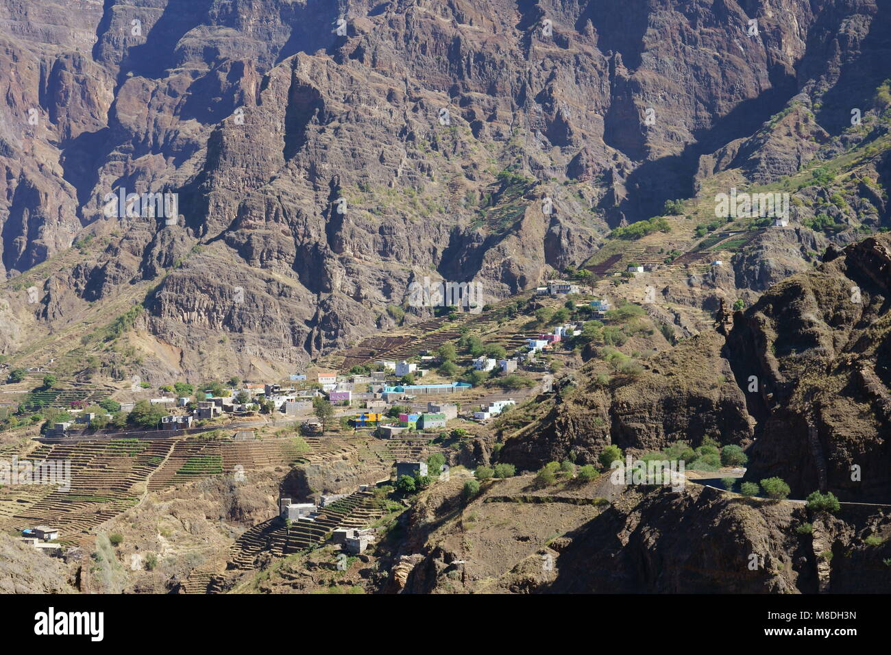 Alto Mira, Settlement at the Western Part of Santo Antao Island, Cap Verde - Stock Image