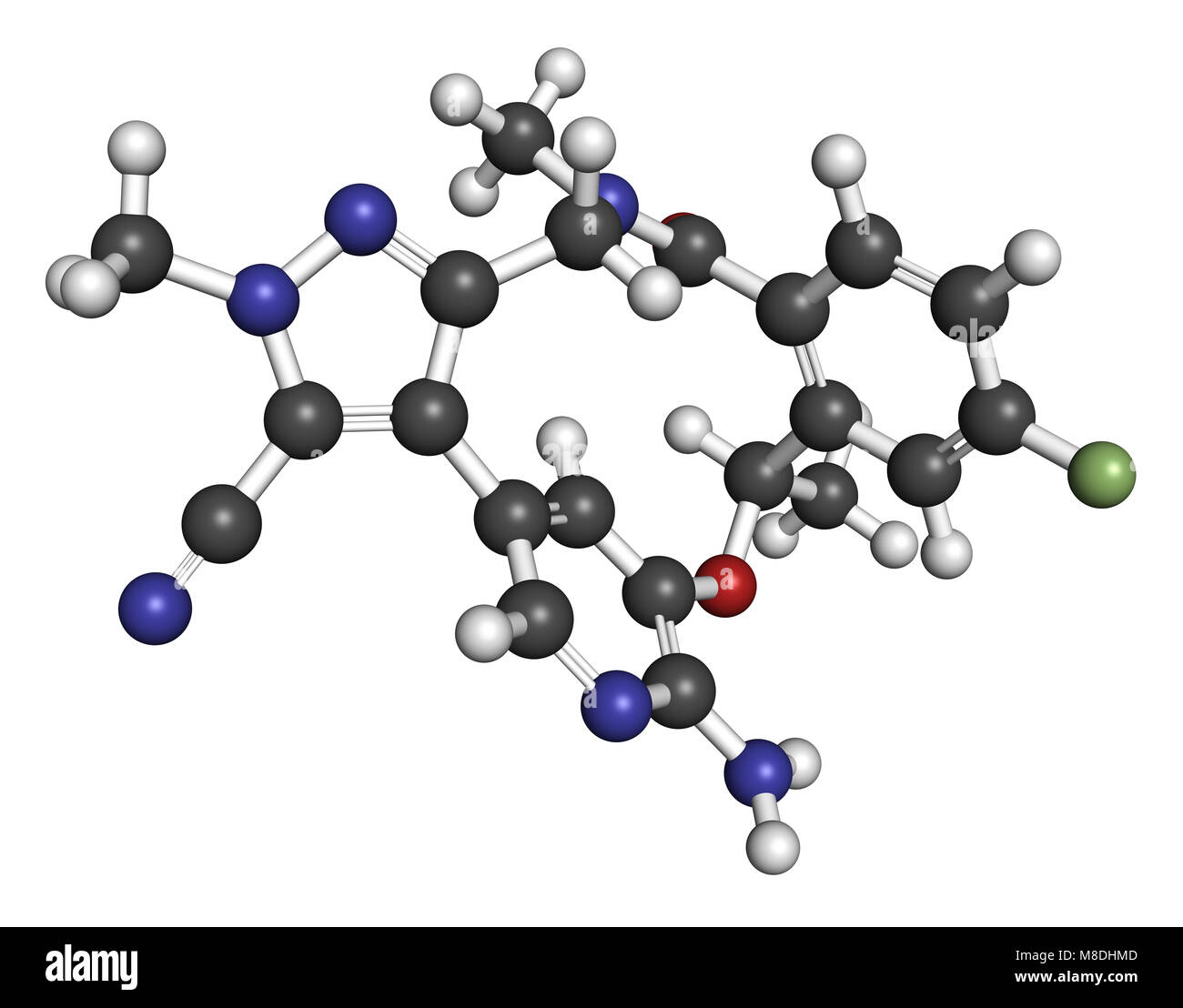 Lorlatinib cancer drug molecule. 3D rendering. Atoms are represented as spheres with conventional color coding: - Stock Image