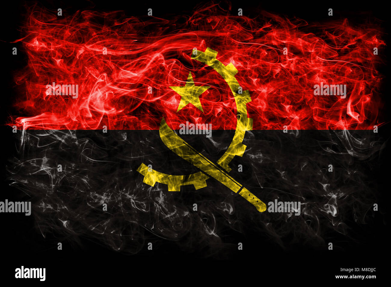Angola smoke flag Stock Photo