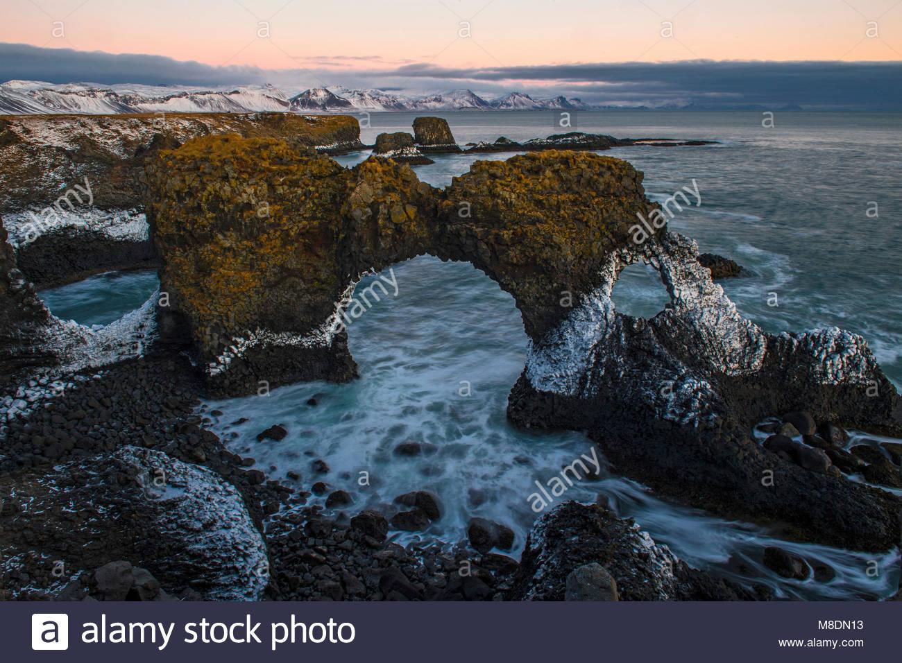Basalt coast, Arnastapi, Snaefellsnes Peninsula, Iceland - Stock Image
