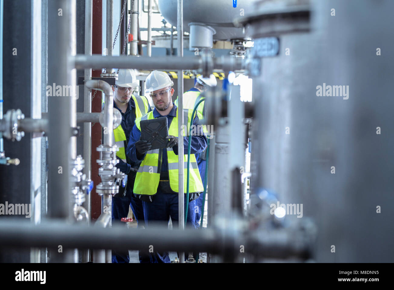 Apprentice engineers working on pipeline in industrial product facility - Stock Image