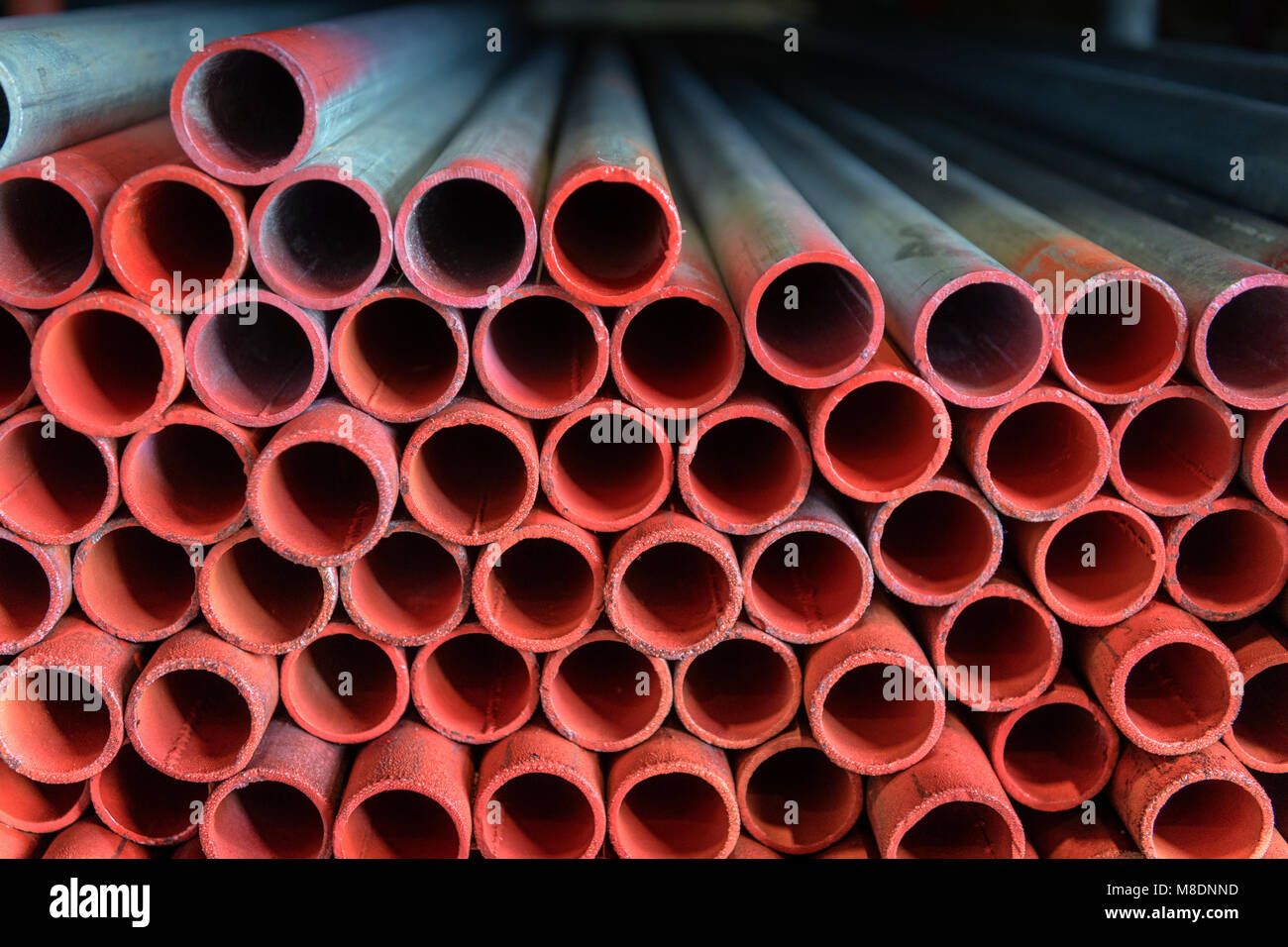 Close up detail of scaffolding pipes - Stock Image
