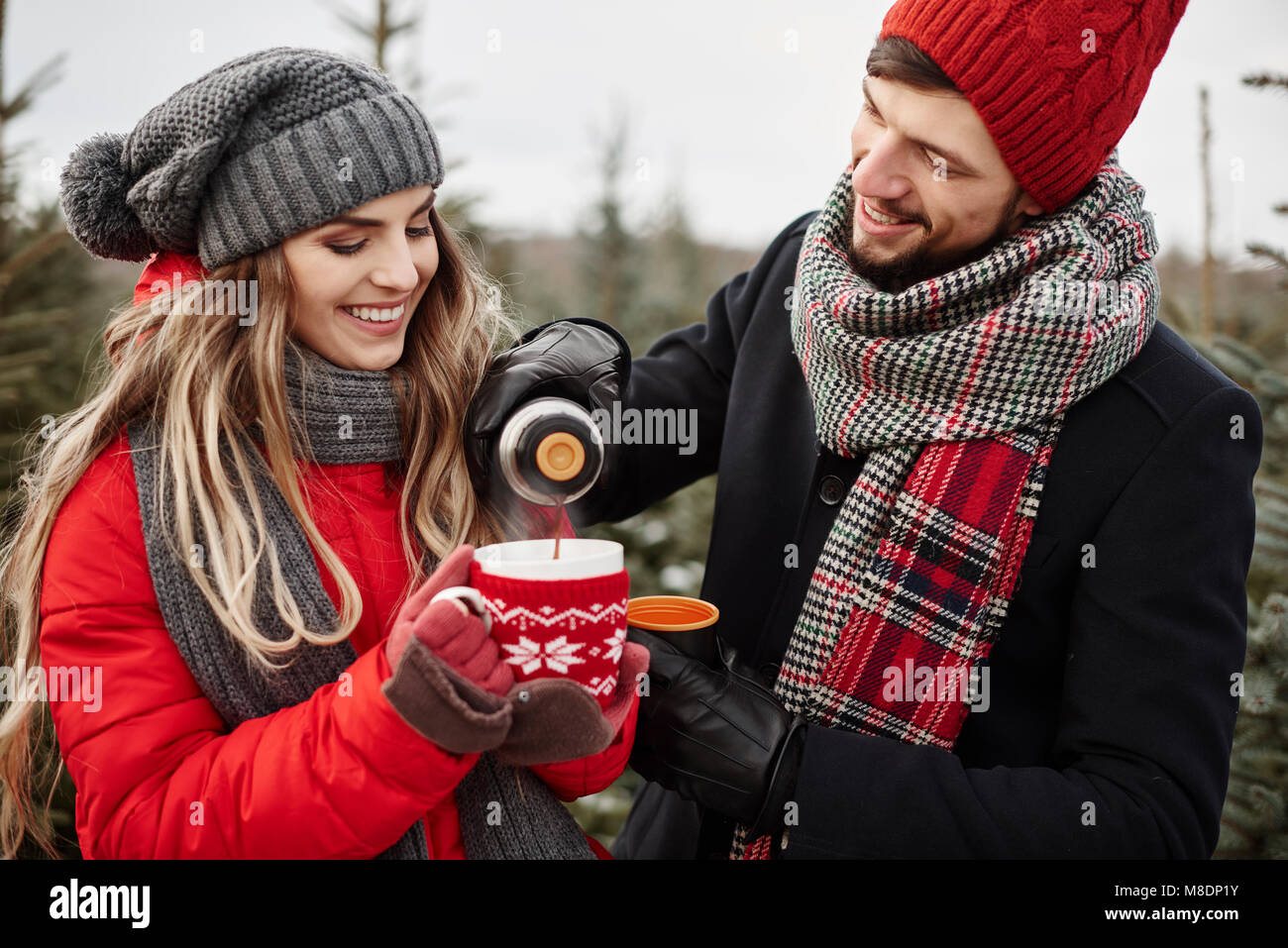 Young couple pouring coffee while shopping for christmas tree from forest - Stock Image