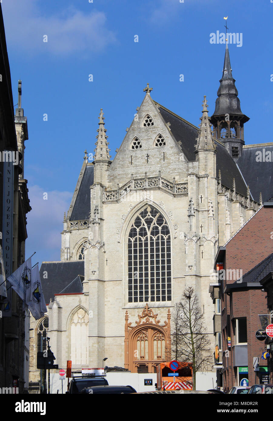 AALST, BELGIUM, 24 FEBRUARY 2018: The newly renovated exterior of the church of St. Martin (Sint Martinus Kerk) - Stock Image