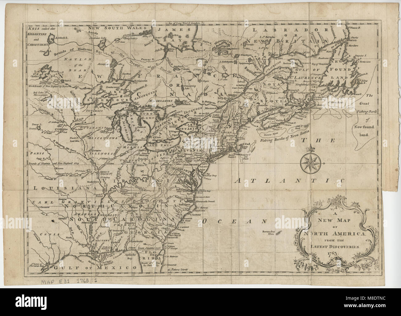 Map Of North America 1763.A New Map Of North America 1763 Stock Photo 177325720 Alamy