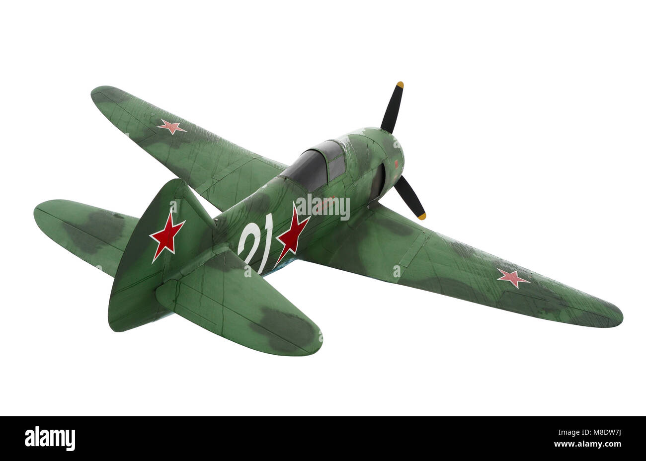 Old Soviet military aircraft LA-7 fighter aircraft of World War II Stock Photo