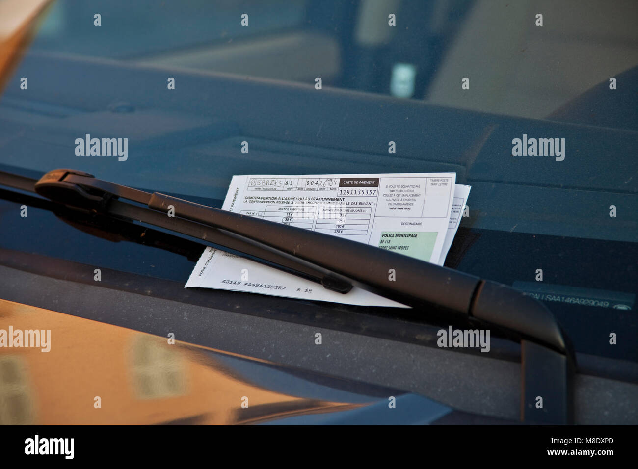 Traffic ticket for a parking violator, Saint-Tropez, french riviera, South France, Cote d'Azur, France, Europe Stock Photo