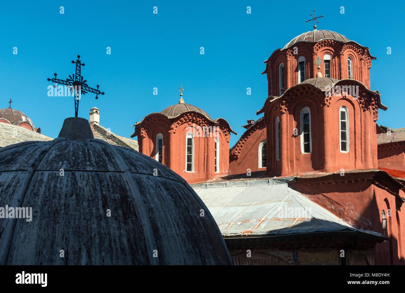 Domes and cupolas on the Katholikon in the  inner courtyard of Koutloumousiou monastery  on The Athos peninsula, - Stock Image
