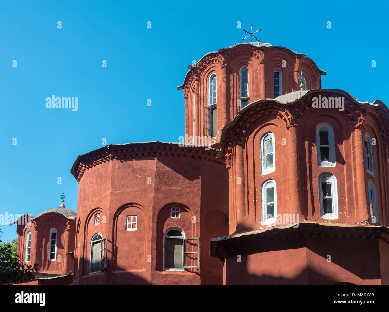 Cupolas on the Katholikon in the  inner courtyard of Koutloumousiou monastery  on The Athos peninsula, Macedonia, - Stock Image