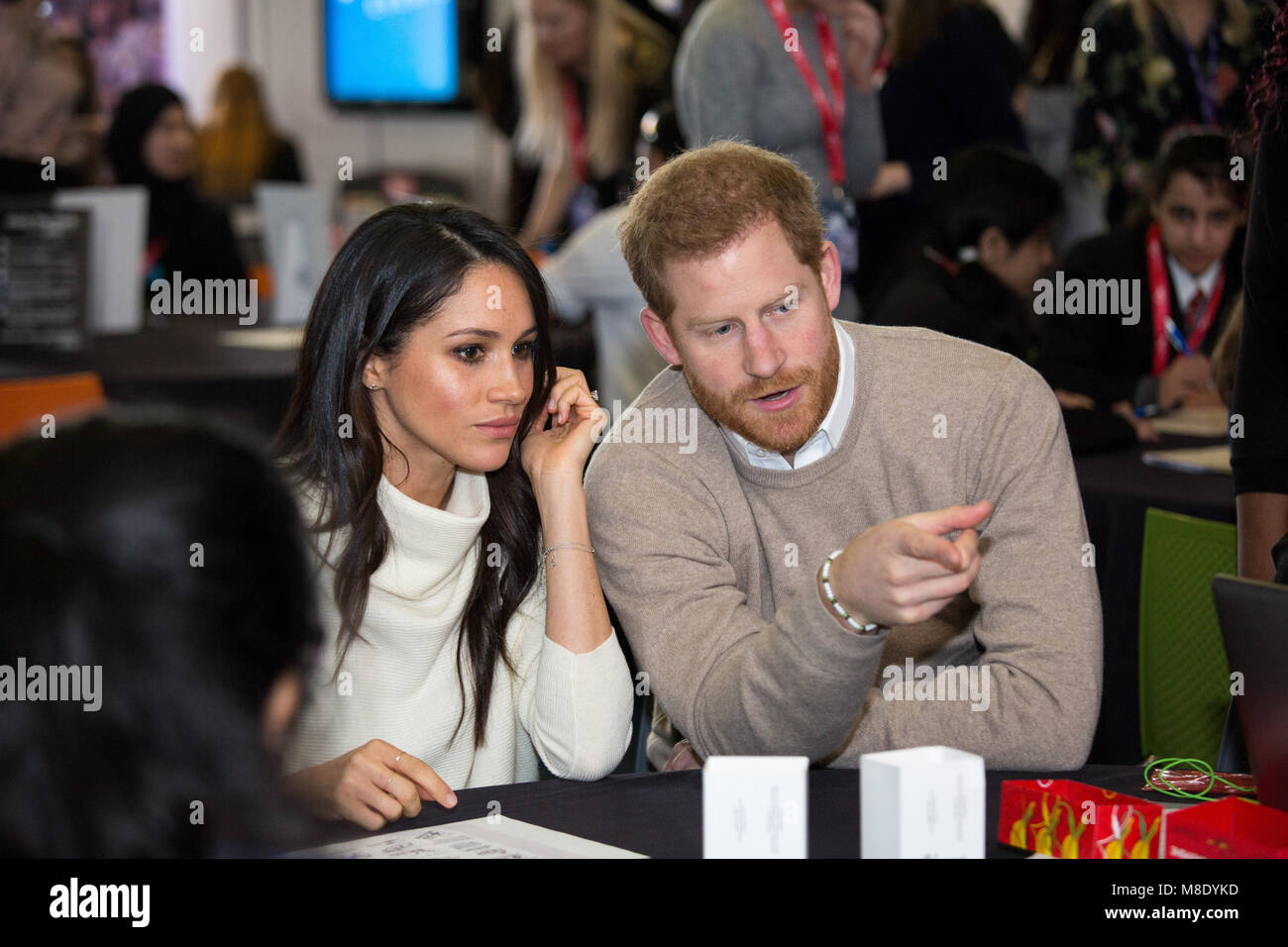 Megan Markle and Prince Harry visited Millennium Point in Birmingham on International Women's Day. The couple together Stock Photo