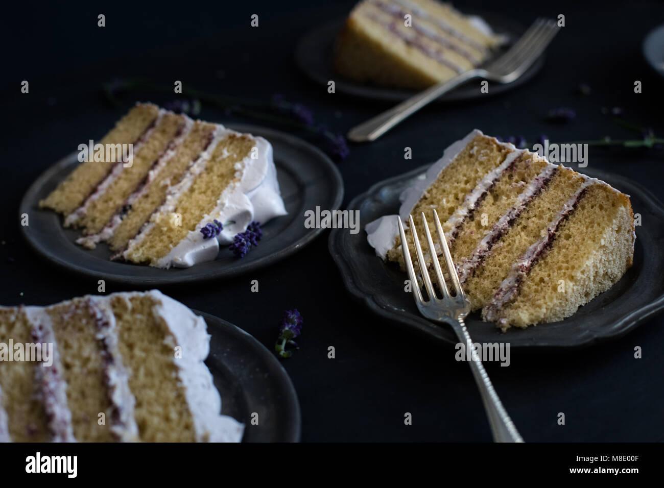 slices of multi layered vanilla cake - Stock Image