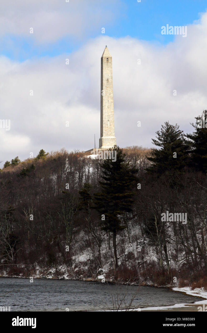 High Point Monument, Montague, New Jersey marks the highest elevation in New Jersey at 1,803 feet above sea level. Stock Photo