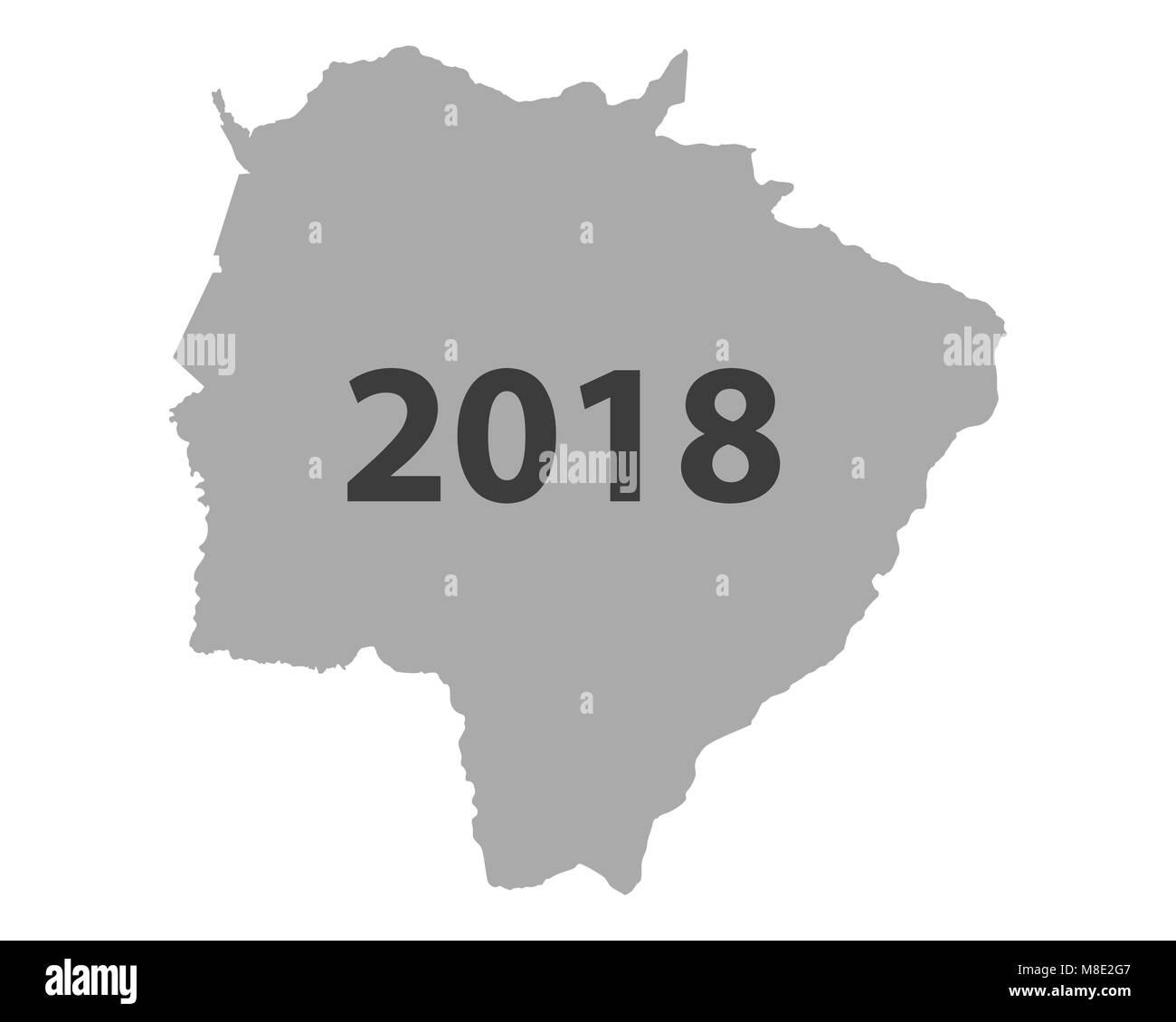 Map of Mato Grosso do Sul 2018 Stock Photo