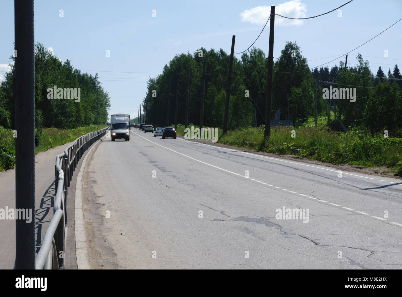 Traffic on a busy highway - Stock Image
