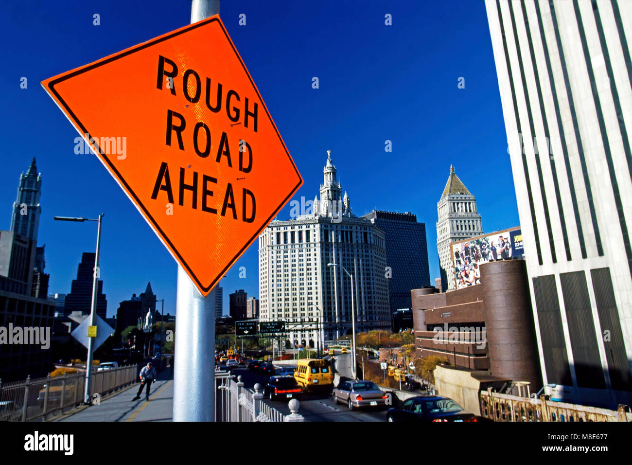 Rough Road Ahead sign, New Yok, USA - Stock Image