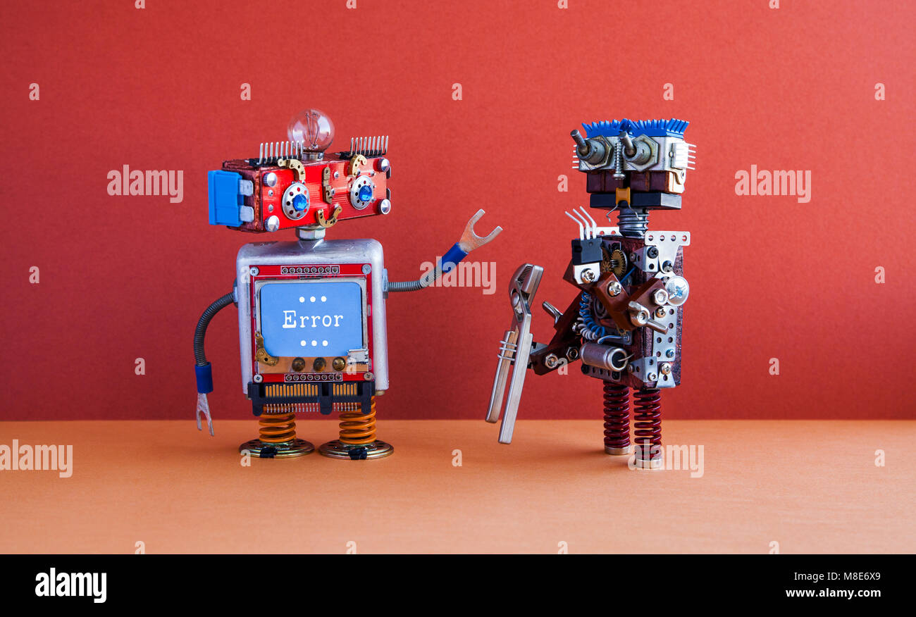 Robotic maintenance repair fix concept. IT specialist robot transformer with pliers, smiley face computer, error - Stock Image