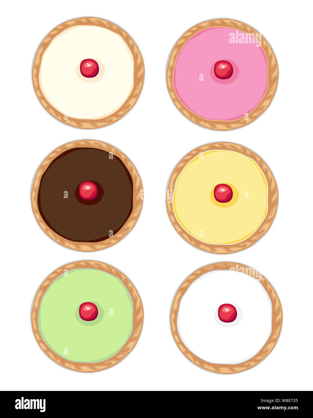 a vector illustration in eps format of six cakes with fondant icing and cherry with golden crust in different colors - Stock Vector