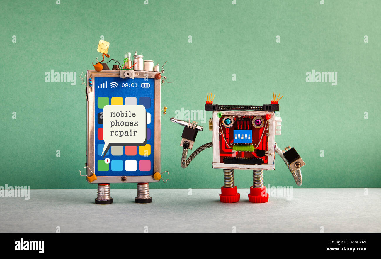 Mobile phones repair service advertising poster. Message smartphone screen, robot serviceman with screwdriver. Green - Stock Image