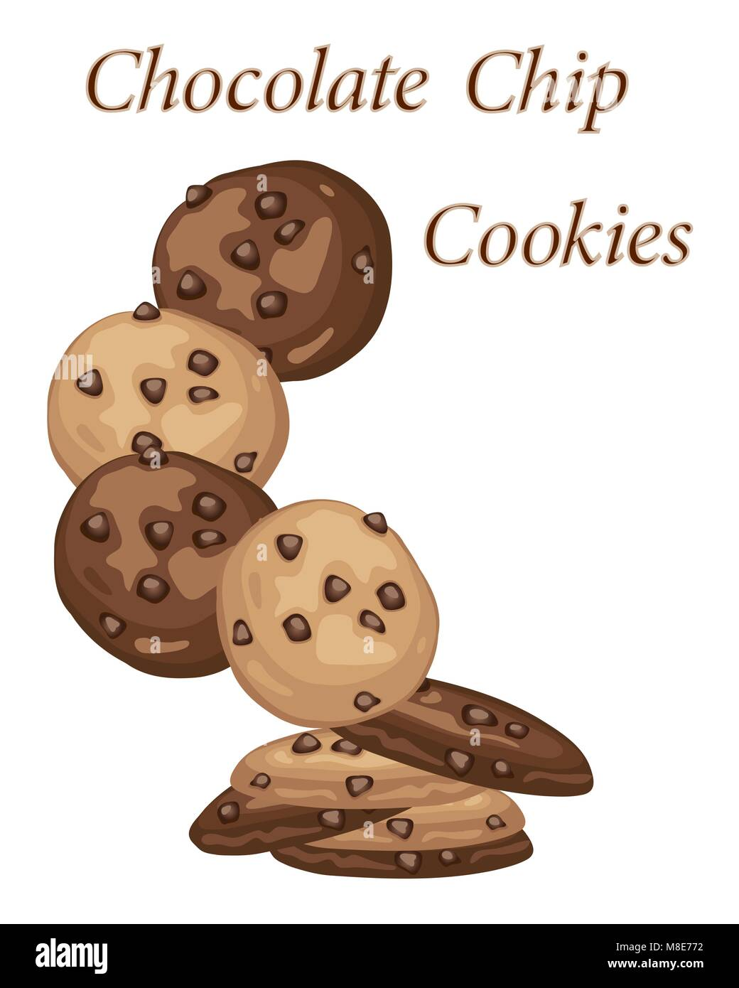 a vector illustration in eps 10 format of chocolate chip cookie advert with delicious home made biscuits on a white - Stock Vector