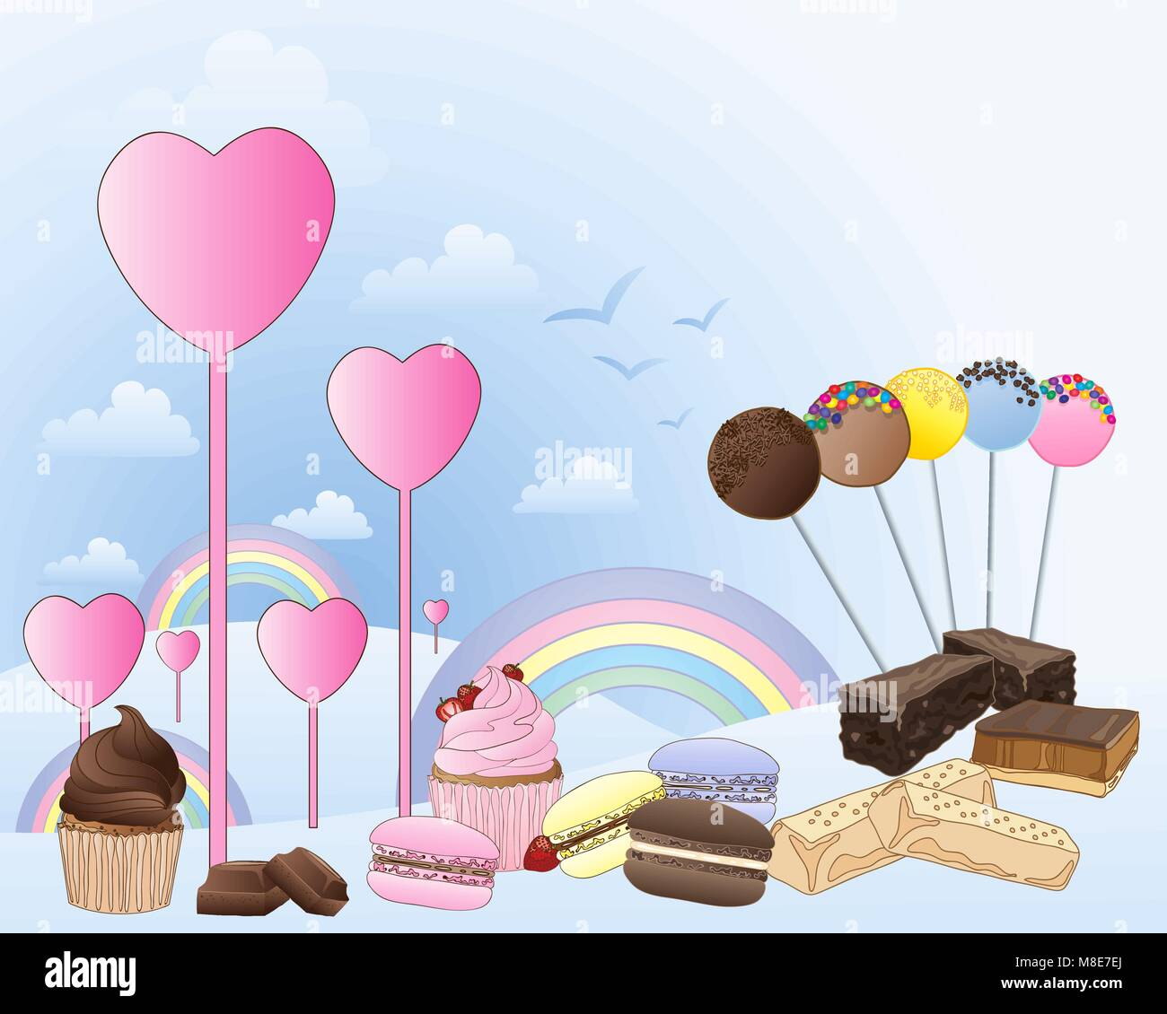 a vector illustration in eps 10 format of a fantasy land of confectionery with hearts rainbows and clouds with a - Stock Vector