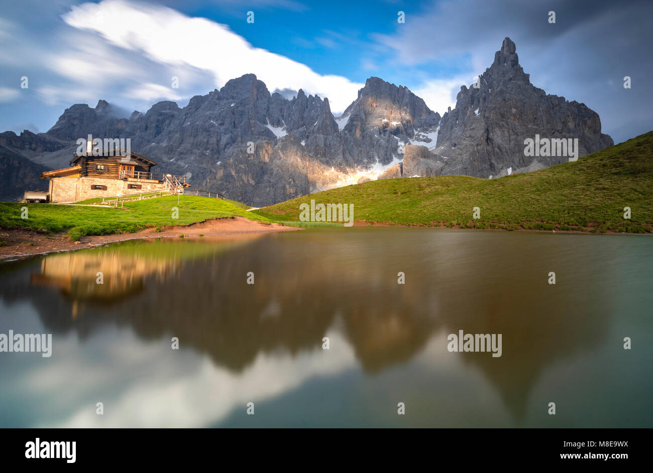 Baita Segabtini, Passo Rolle, San Martino di Castrozza Village, Trento district, Trentino Alto Adige, Italy Stock Photo