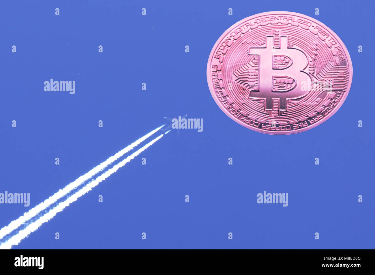 Conceptual image.Bitcoin airplane takeoff and growth .Attachment the Concept of financial Internet technology FINTECH - Stock Image