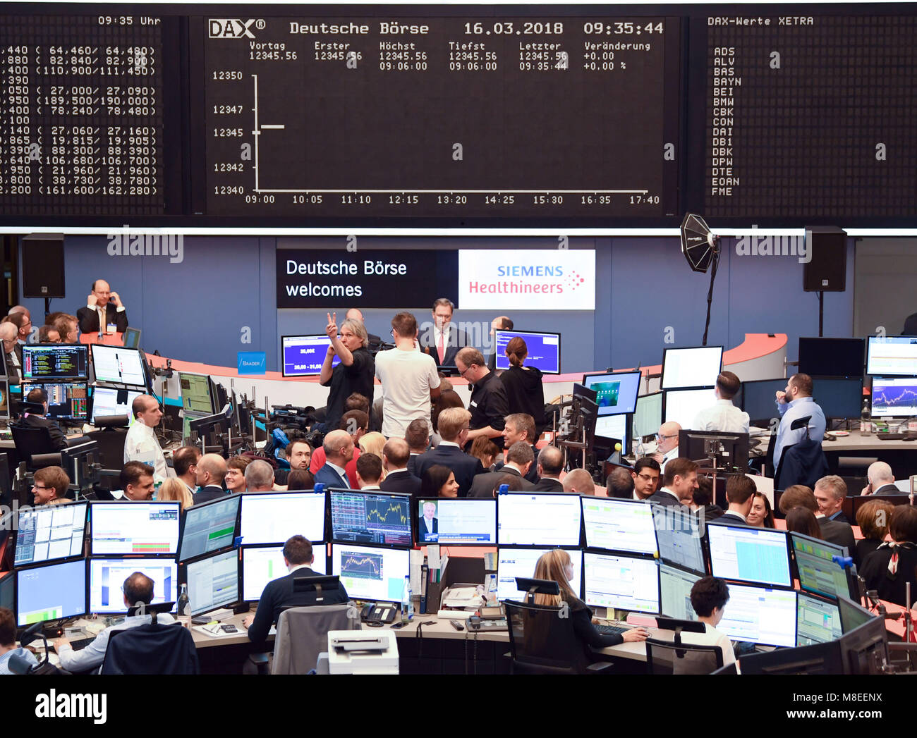 16 March 2018, Germany, Frankfurt am Main: An empty Dax and Xetra display board can be seen as a result of a computer Stock Photo