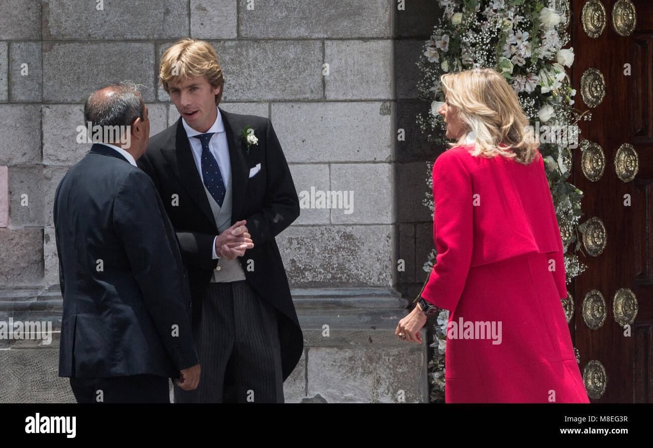 16 March 2018, Peru, Lima: Prince Christian of Hanover (2-L) and his mother Chantal Hochuli (R) arrive at the church Stock Photo