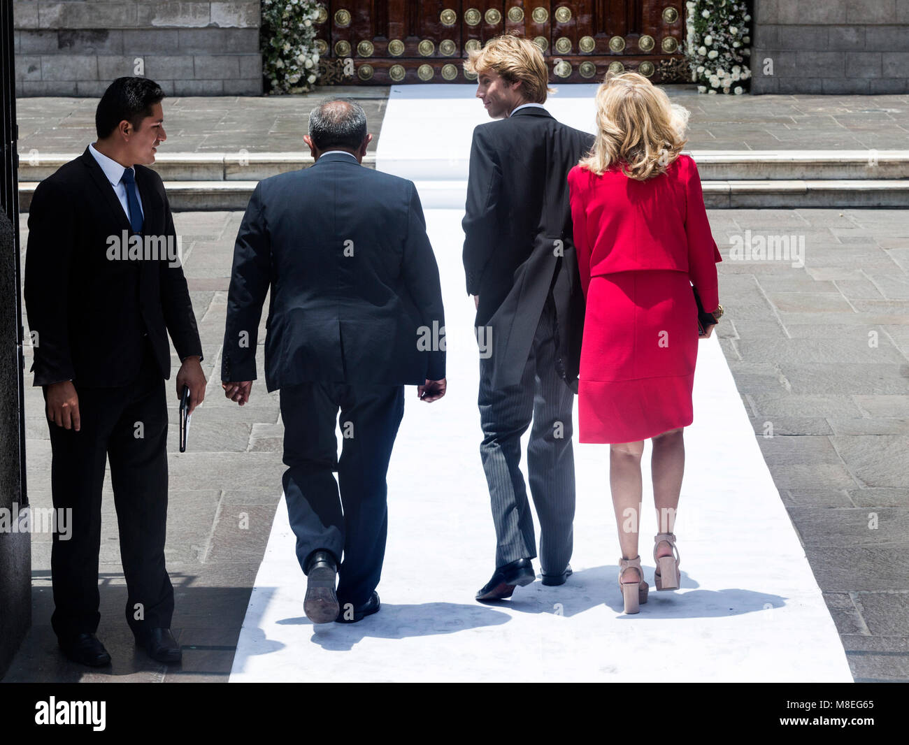 16 March 2018, Peru, Lima: Prince Christian of Hanover (3-L) and his mother Chantal Hochuli (R) arrive at the church - Stock Image