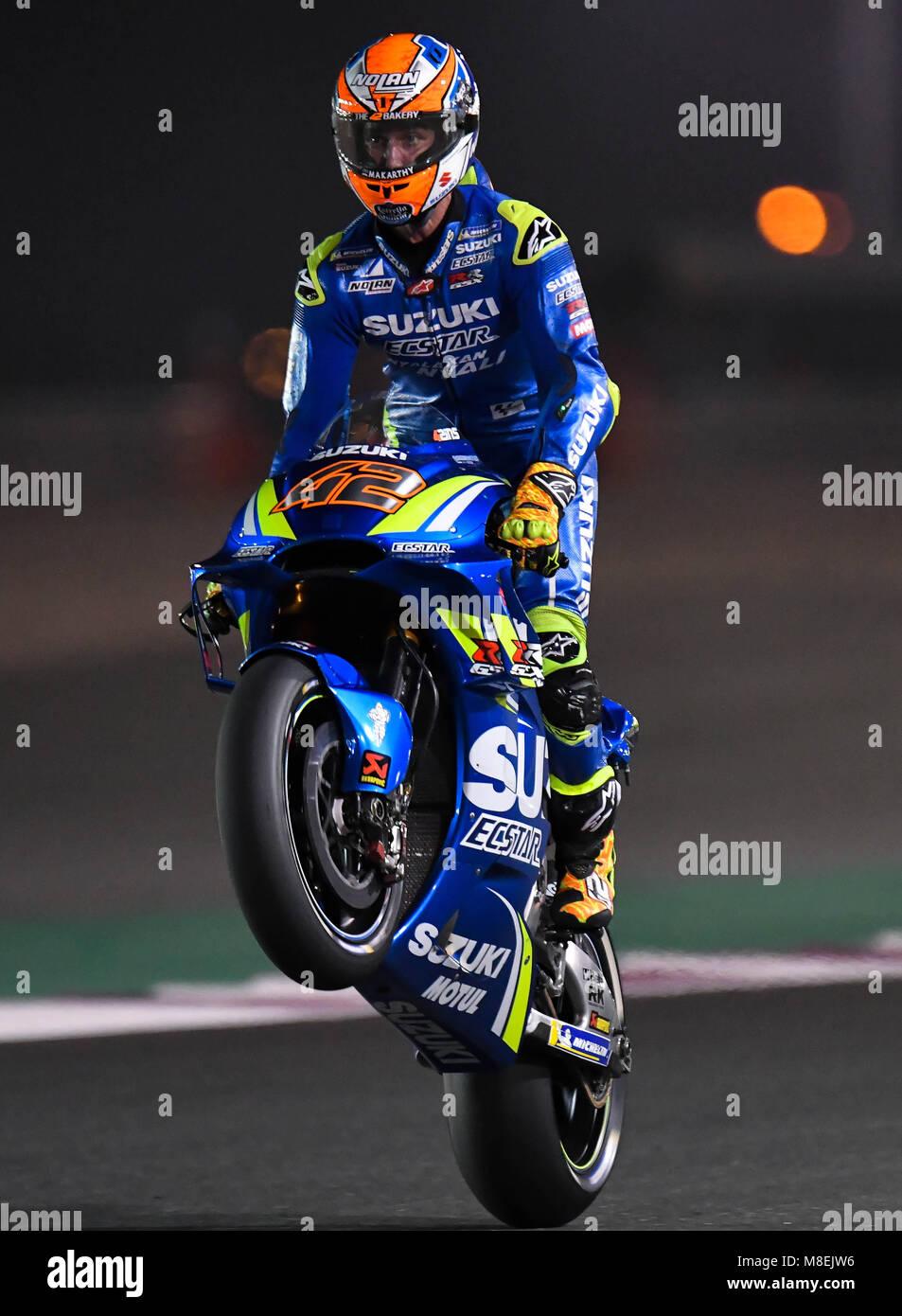 Doha Qatar 16th Mar 2018 Spanish Motogp Rider Alex Rins Of Team Stock Photo Alamy