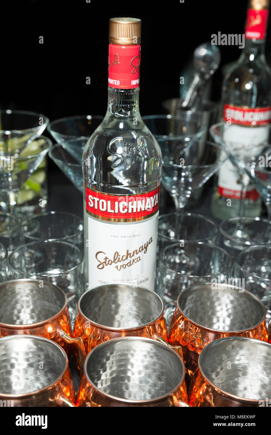 New York, NY - March 16, 2018: Bottle of Stolichnaya vodka on display during FX The Americans season 6 premiere - Stock Image