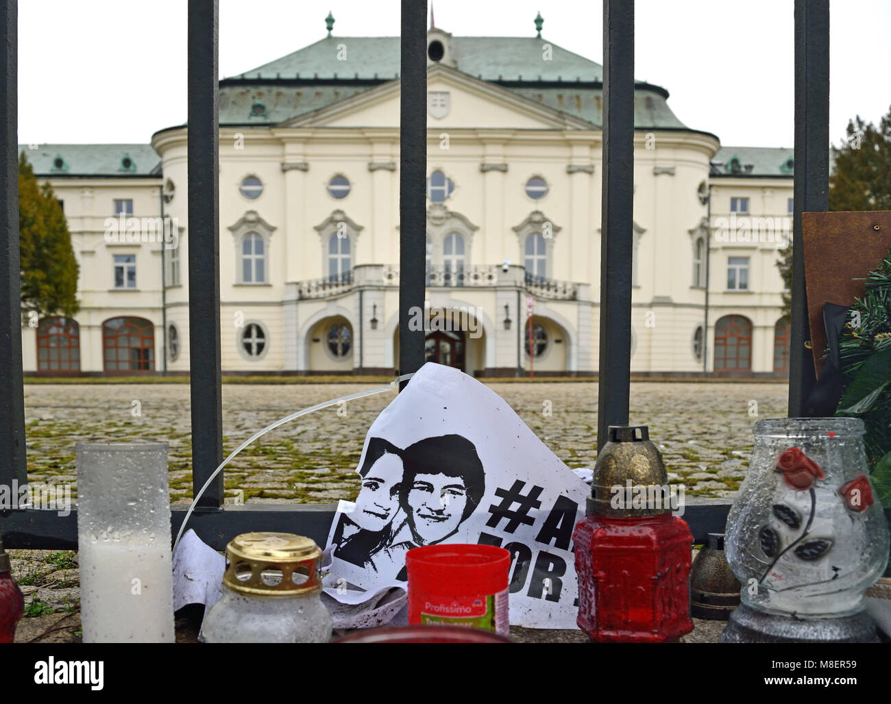 Bratislava, Slovakia. 16 March 2018. A sad look at the memo photograph of the murdered journalist Jan Kuciak and Stock Photo