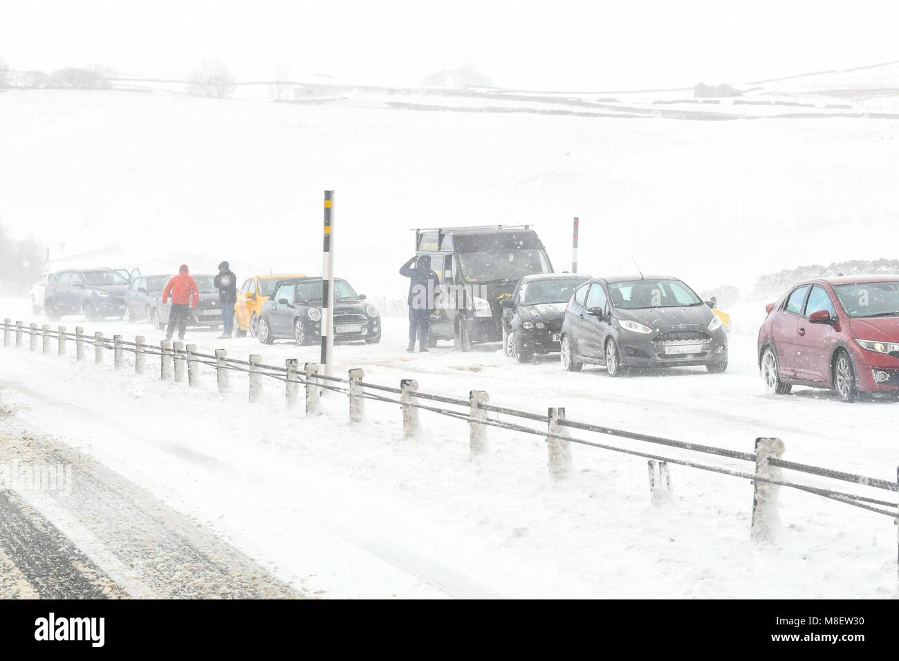 A66, UK, 17 Mar 2018. A66 eastbound - 17 March 2018: uk weather - motorists stranded on the A66 eastbound trunk - Stock Image