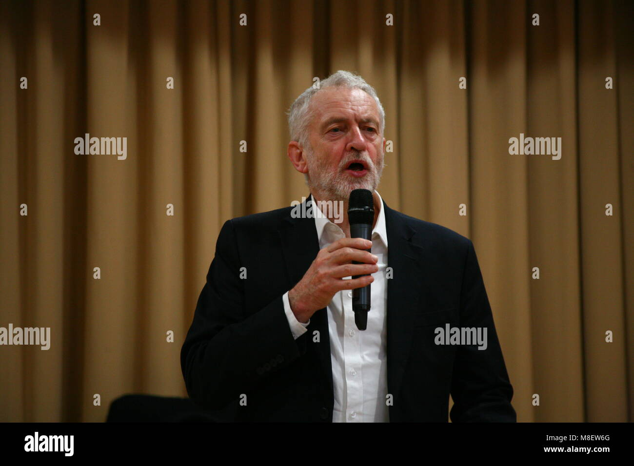 Newcastle, UK, 17 Mar 2018.  Labour Leader Jeremy Corbyn visits Labour members & Nicholas Brown MP at Biscuit - Stock Image