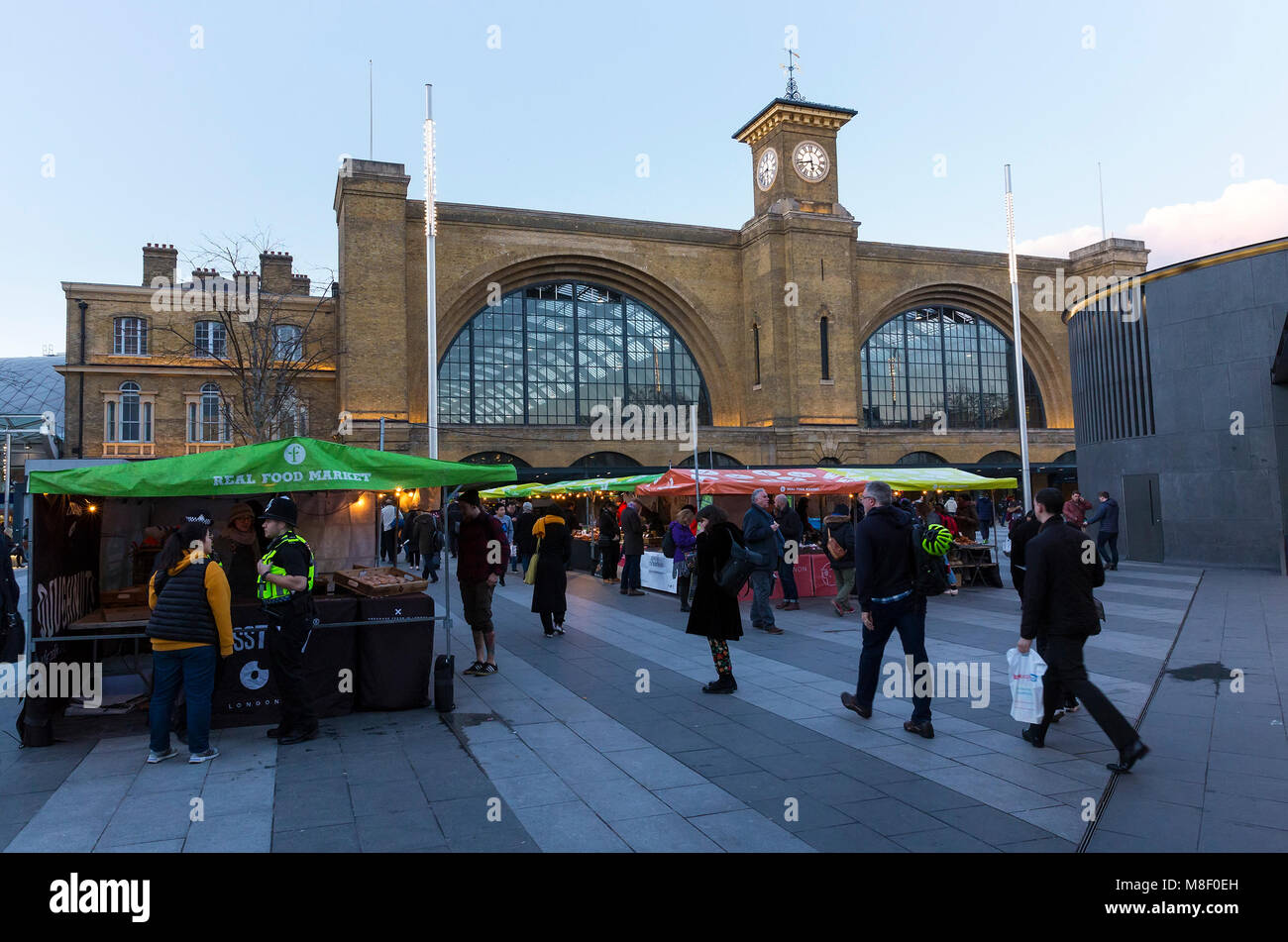 LONDON, UK - MARCH 7, 2018: General view of the Real Food Market outside King's Cross Railway station. The open - Stock Image