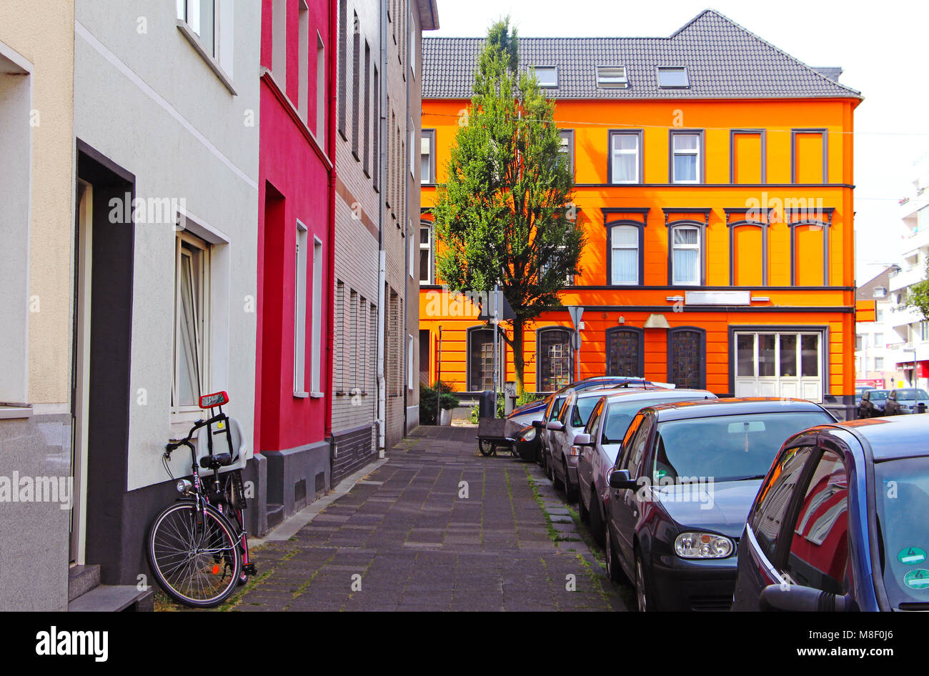 Street with colorful houses in the city near the centre of Krefeld, Germany - Stock Image