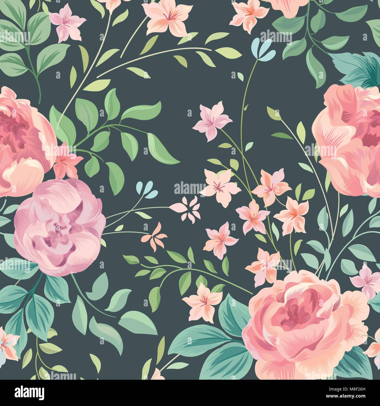 Flower rose and leaves on pastel background. Garden flourish wallpaper.