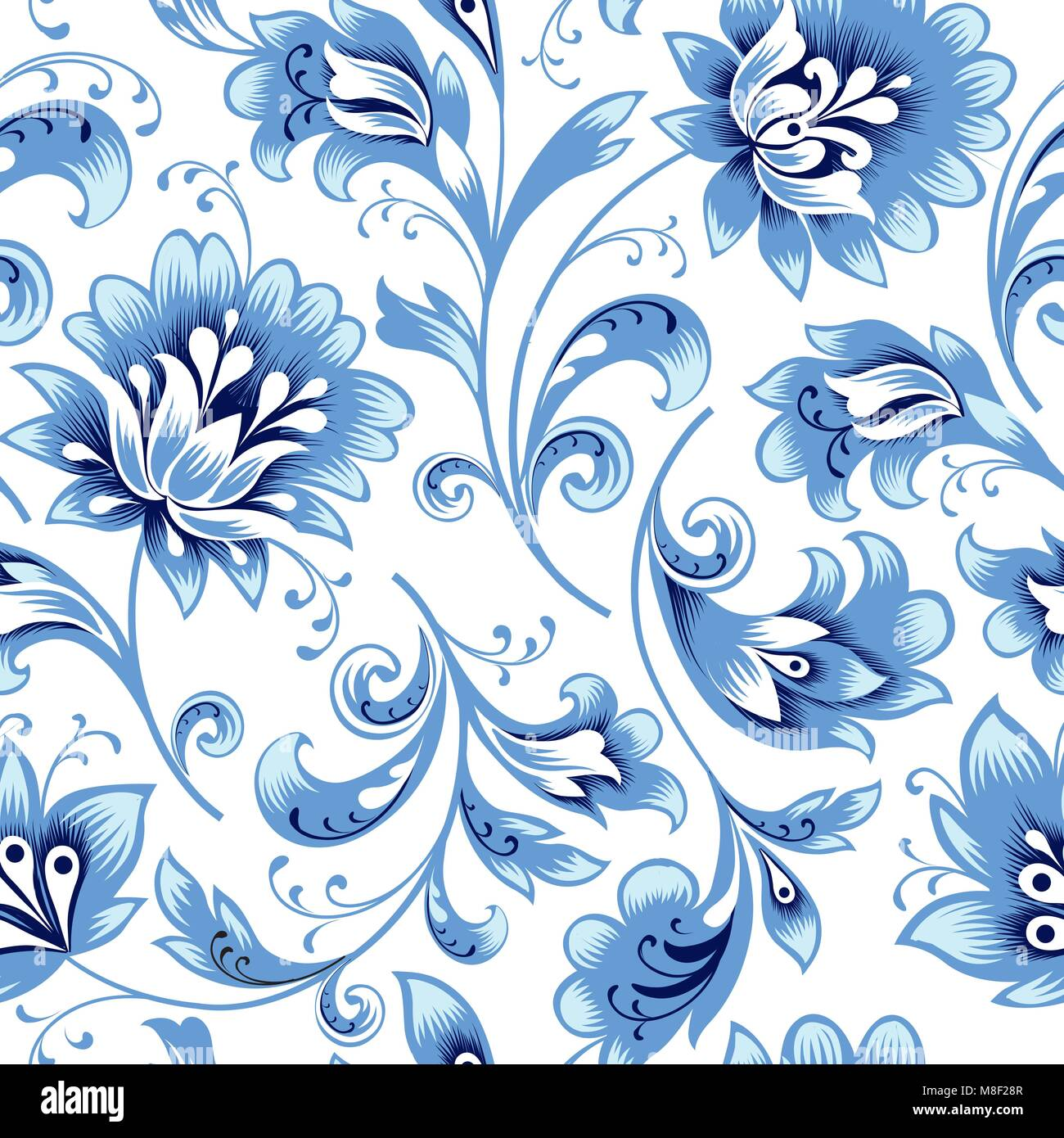 Floral seamless pattern. Flower silhouette ornament. Ornamental flourish background, russian native ethnic style - Stock Image
