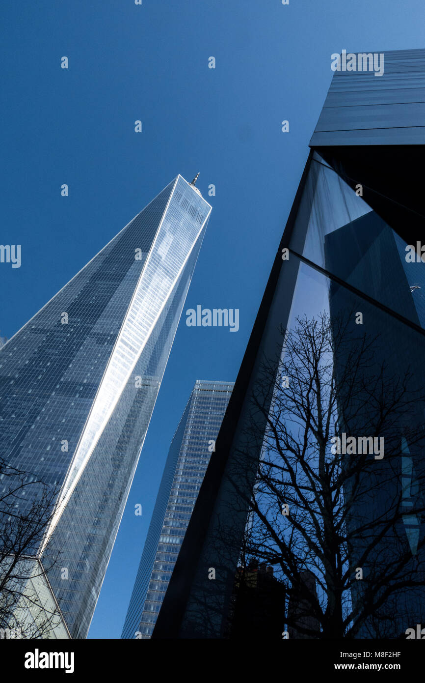 The Freedom Tower, a  Modern Glass and steel Building In Lower Manhattan, New York city USA, Replacing the World Stock Photo