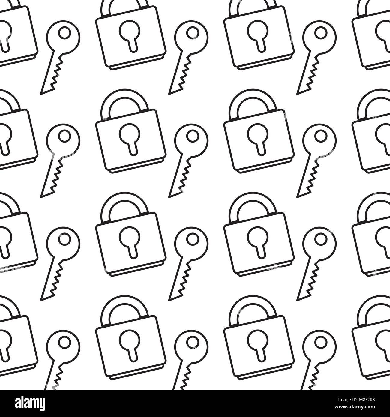 line close padlock object with key background - Stock Image