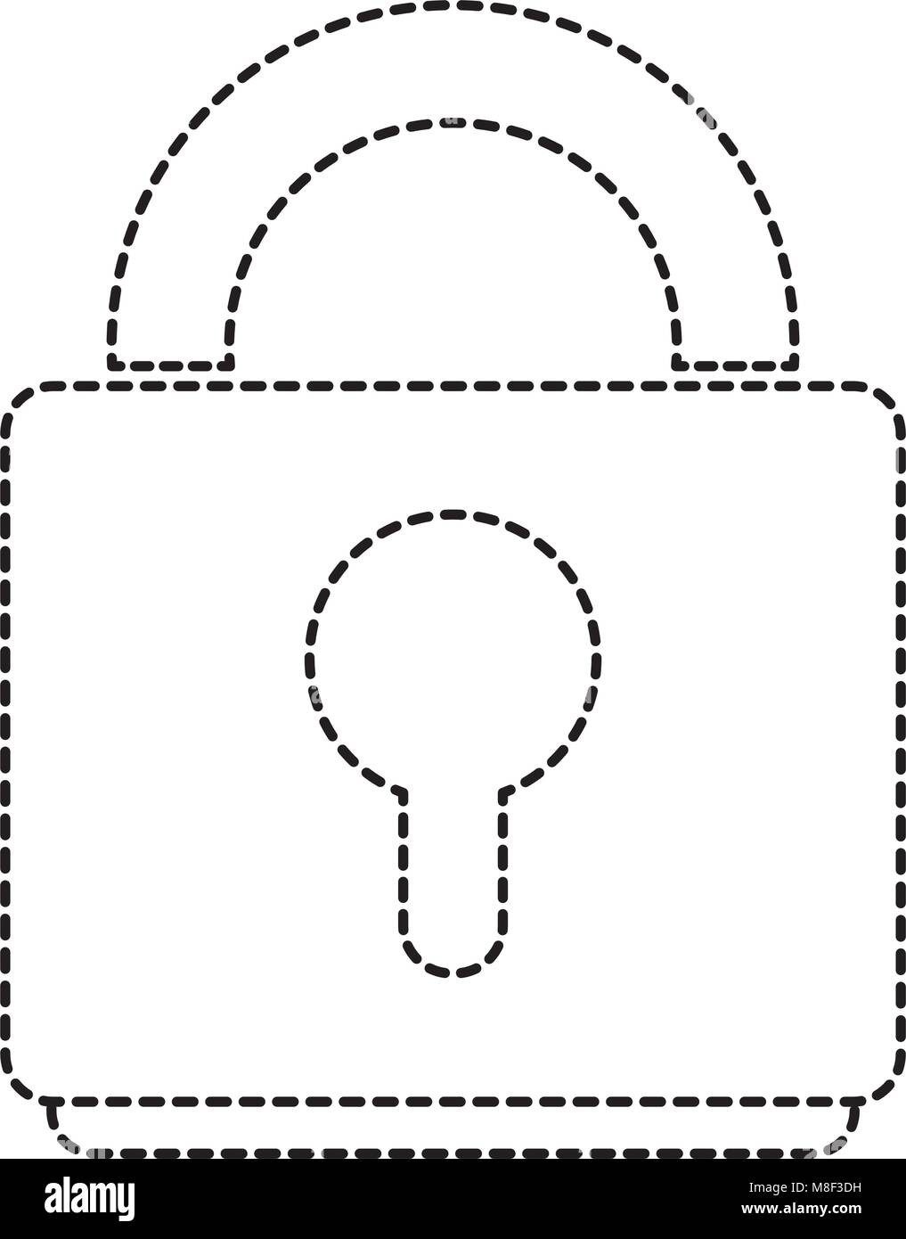 dotted shape close padlock object to security symbol - Stock Image