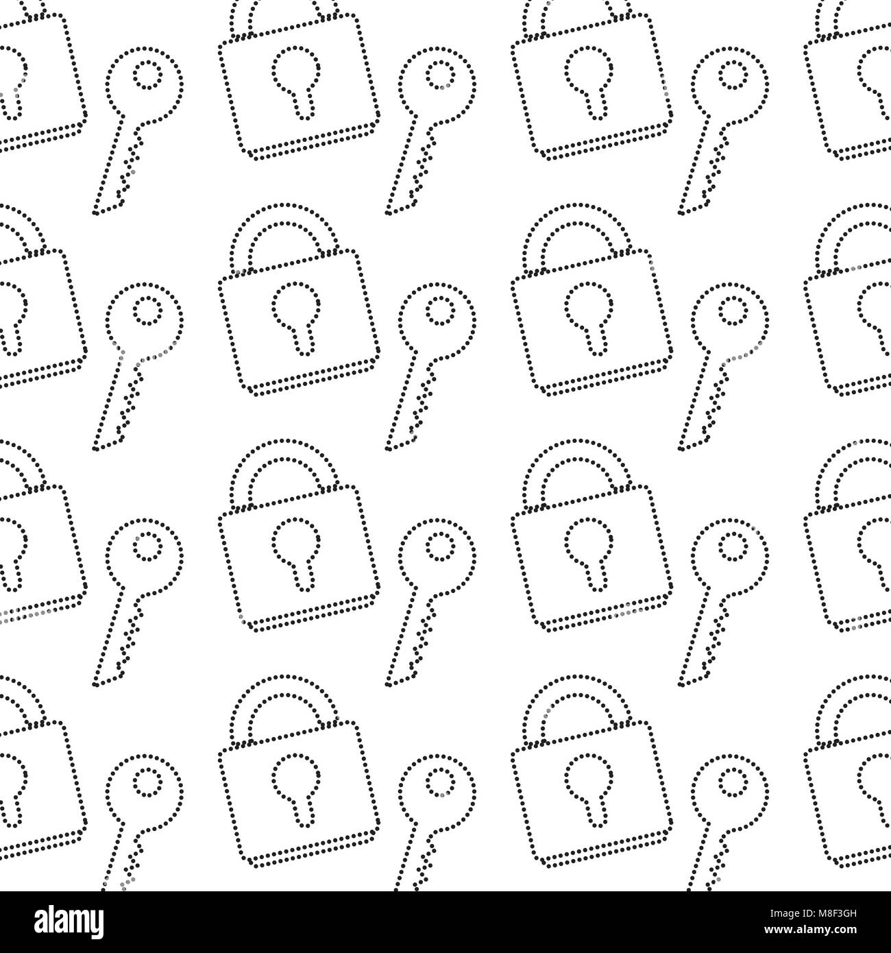 dotted shape close padlock object with key background - Stock Image